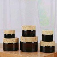 Frasco frasco de vidro fosco frasco de creme de rosto redondo frascos de cosméticos amber recipiente marrom clara garrafas de embalagem 5g 10g 15g 20g 30g 50g com cobertura de grão de madeira imitada