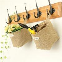 Doppelseitiges Tuch kleine hängende Taschen desktop Aufbewahrungstasche für kleine Gegenstände gewebt Lagerkorb Dekoration T500566