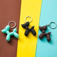 10Pieces/Lot 5 Color Soft Rubber PVC Stereo Keychain Nice Gift DIY Pendant Car Interior Korean Style Balloon Dog Cartoon Keyring Key Chains