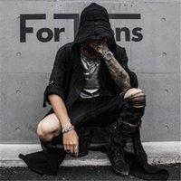 Men's Trench Coats Thin Section Coat Black Hooded Jacket Street Hip Hop Men Long Sleeve Nightclub Punk Cardigan Retro