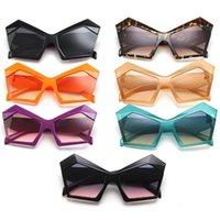 Fashion Punk Sunglasses Cat Eye Sun Glasses Polygon Adumbral Anti-UV Spectacles Oversize Frame Eyeglasses Ornamenta A++