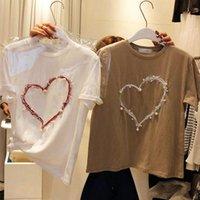 Women's T-Shirt Heart Shape White Short-sleeved Heavy Work Summer Tee Designer Female Clothing Top Harajuku Kpop Tees