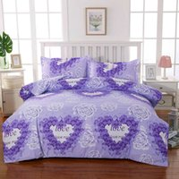 Amore Purple Flower Bed Lines Biancheria da letto Nordic Style Family Quilt Cover Case Cover Duty Cover King (Solo 1 PZ Duvet Cover) F0330 210420