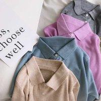 Mit Wolle Revers BM Cardigan Jacke Thin 2021 Herbst neue Langarm Polo Pullover Frauen Kurze 3796
