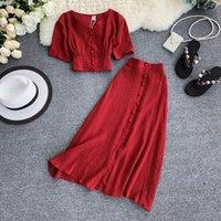 İki Parça Elbise Kadın Set 2021 Seksi Yaz Kıyafetler Kadın Giysileri Moda V Boyun Kırpma Üst + Ince A-Line Uzun Etekler Takım Elbise 2 adet Setleri