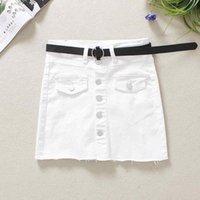 Skirts 2021 White Jeans Womens Summer Buttons High Waist Elastic Skinny Skirt S- XXL Solid Above Knee Shorts Denim M503