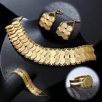 Exquisite fashion Middle East Arab Bride Muslim Coin Necklace Earring Ring Bracelet Set Gold Color Wedding Jewelry accessories