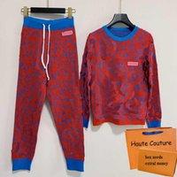 Moda Mulheres Sweater Suit Carta Casual Imprimir Senhoras Sweatsuits Soft Spring Outono Lady Tracksuits Topo + Calças de Alta Qualidade Tracksuit