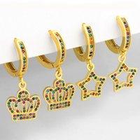 Dangle & Chandelier Boho Crown Earrings For Girls Rainbow Zircon Gold Color Pentagram Earings Women's Jewelry Accessories Gifts Wholesale G2