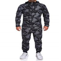 2020 New Mens Camouflage Autumn Running Stitching Casual Jogger Tracksuit Sweatshirt Sports Set Gym Zipper Slim Fit Sport Suit