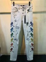 21SS Lujos de diseño de patrones de diseño para hombre Jeans Classics Diseñadores de marca Azul Slim-Leg Pintado Motocicleta Moto Biker Calidad Tapa Vintage Pantalones Tamaño 29-40