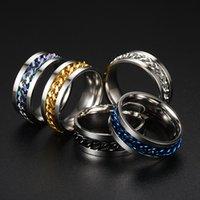 멋진 스테인레스 스틸 회전 가능한 남자 커플 반지 회 전자 체인 회전 반지 펑크 여성 쥬얼리 파티 선물