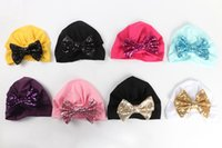 Christmas Sequins Baby Bow-knot Turban Soft Cotton Headband Cute Toddler stretch Head Wrap India style infant cap Knot Bow hats OWE10520