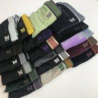 17 색 Mens 디자이너 바지 바늘 나비 자수 벨벳 바지 측면 줄무늬 가슴 가슴 복고풍 캐주얼 바지 패션 스웨트 팬츠
