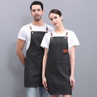 Uomini Donne Fashion Stripe Bib Regolabile Bib Chef Grembiule Impermeabile Casa Cucina Cucina Cuocere Cooking Vita Grembiuli Multi Colori con 2 tasche
