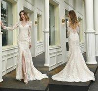 Elegant Long Sleeves Wedding Dress Lace Appliqued Bridal Gowns Side Split Backless
