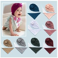 10 colors Cute Infant Toddler Unisex Knot Donut Indian Turban Bib sets Kids Triangle scarf Caps Baby Coral fleece Hat Burp Cloths Hairband