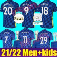 CFC Soccer Jersey Ziyech Pulisic Mount Kante Havertz Werner Abraham Chilwell Giroud Hudson-Odoi 2021 2022 كرة القدم قميص 21 22 رجالي + موحدة Kids Kit