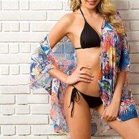 Женщины шифон напечатанные бикини накрытие кардиганские пляжные туники лето Kaftan Pareos купальник Beachwear Beachwear купальный костюм Кейп женские купальники