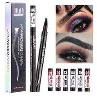눈 화장 패션 눈썹 잉크 펜 액체 눈썹 향상제 6 색 방수 4 머리 눈썹 연필