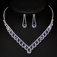 Earrings & Necklace Charm Royal Blue Crystal Bridal Jewelry Sets Bling Rhinestone Statement Choker For Women Wedding