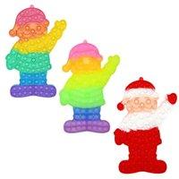 US STOCK Party Favor 31CM Giant Jumbo Large Rainbow Finger Bubbles Puzzle Toys Santa Claus Shaped Push Fidget Sensory Rubber Christmas Father