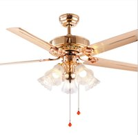 Modern 220V LED Ceiling Fan For Living Room Ventilador de techo Gold fans with 5 Blades Lighting Fixture Motor 70W