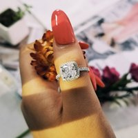 925 Sterling Silver Ring 8mm CZ Zircin Wedding Engagement promise Rings for Women Wholesale Jewelry Finger R668