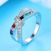 X anillo cruzado para mujeres boda joyería de moda deslumbrante cz piedra grandes anillos modernos