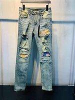 디자이너 Luxurys Mens 청바지 캐주얼 자수 빈티지 패치 워크 바지 고전 아플리케 패션 구멍 오토바이 바이커 슬림 - 다리 세차 된 Jean