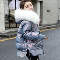 Autumn and winter down jacket women's new style fashion age reduction bright face warm collar loose show thin hood
