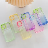 Candy color contrast card bag gradient Transparent Phone Cases for iPhone 13 Mini 12 11 Pro XS Max XR X 7 8 Plus Simplicity fashion cute shockproof cover case