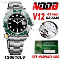 N V12 SA3235 Automatische grüne Keramik BEZEL Black Dial Herren Watch 41mm 904L Stahl Armband Super Edition Geschenk Dieselben 2021 Serien Garantie Karte 126610 HELLO_WATCH