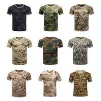 Homens de esportes ao ar livre camisetas Camuflagem Multicam Quick Seco O Pescoço de Manga Curta Tops Camisa Plus Size M-3XL T-shirt Acessórios