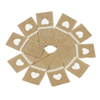 Hanging Baskets 30Pcs Jute Burlap Lace Cutlery Pouch Wedding Tableware Party Decoration Supplies Fork And Knife Storage Bag Table Acc