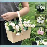 Event Festive Supplies Home & Gardendecorative Flower Box Handbag Waterproof Bouquet Florist Gift Bags For Valentines Day Rose Boxes Party D