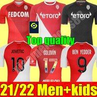 21 22 Como Monaco Futebol Jerseys Set Home Away 3rd 2021 2022 Ben Yedder Jovetic Golovin Chadli Gelson .m Edição Especial Adulto Homens + Kit Kit Kit de Camisa de Futebol