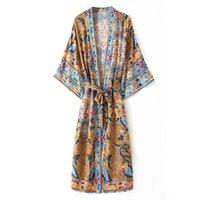 100% Rayon Pamuk Boho Tavuskuşu Çiçek Cornes Kapak Ups Hippi Bohemian Halk Vestidos Baskı Uzun Duster Kimono Dreses Günlük Elbiseler