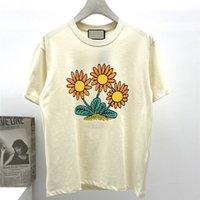 Мода мужская дизайнерская футболка забавная подсолнечника печать с коротким рукавом высокого качества роскошные тройники размером м-2xL