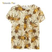 YOLANDA PAZ mais recentes homens / mulheres 3D camisas de boa qualidade Moda Respirável Conforto Bee Bee Manga Curta O-Pescoço Tops Tees