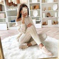 Sweater de las mujeres tejido de 2 piezas Conjunto de manga larga Tops de manga larga y pantalones largos Sexy otoño suéter de invierno de dos piezas Setfits T200821