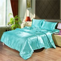 4pcs Luxury Silk Bedding Set Satin Queen King Size Bed Set Comforter Quilt Duvet Cover Linens with Pillowcases and Bed Sheet 1814 V2
