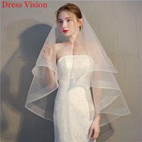 Simple Wedding Bridal Short Veil Lace Elegant Wedding Accessories Two Layers With Comb Bridal VeilVestido De Noiva
