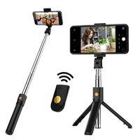 3in1 monopods Wireless Selfie Stick Pieghevole Pieghevole Bluetooth Monopod TETTER TETTORE REMOTE ESTENIBILE mini treppiede per iPhone / Android / Huawei