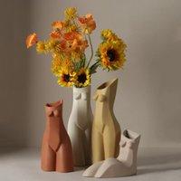 Vases Bao Guang Ta Nordic Créateur Human Body Vase Fille Buste Art Sculpture Fake Flower Receptacle Céramique Craft Accueil Décoration R5867