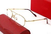 Full Clear Gold Eyeglass Мужчины Женщины Роскошный Дизайнер Глаз Очки Рамки Твист Ноги Двойной Нос Мост Половина Кадр Авиатор Солнцезащитные Очки