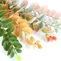 10 pz / lotto artificiale eucalyptus foglia foglia verde foglie di rami per la casa decorazioni festa di nozze decorazioni soldi pianta albero fiori decorativi w