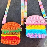 Fidget Toys Hamburger Rainbow Shoulder Bags Colorful Bag Push Bubble Sensory Squishy Stress Reliever Autism Needs Anti-stress Toy For Children Adult