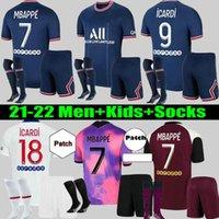 Erkekler + Çocuklar Maillots De Futbol Kiti 20 21 22 MBappe Futbol Formaları 2021 2022 di Maria Kean Üçüncü Jersey Verratti Icardi Dördüncü Gömlek