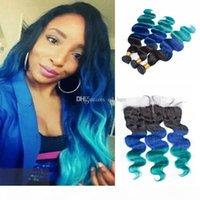 Peruano Ombre Virgem Humano Body Wave Hair 3Bundos com laço frontal 1b azul verde trama extensão com orelha a orelha frontal
